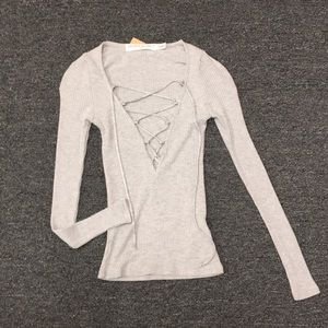 Project Social T Lace Front Long Sleeve Gray T